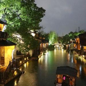 水郷古鎮の幻想的な夜景ー烏鎮