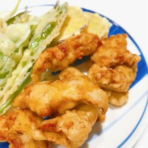 *5/28  天ぷら3種(とり天、行者ニンニク、さつまいも)*