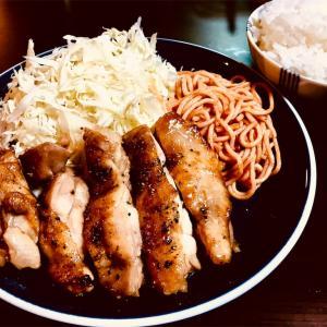 鶏のソテーとケチャップスパゲティ