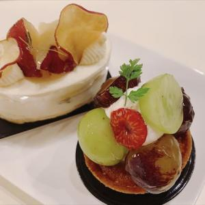ラ・メゾン ド ジュン 秋のケーキ蜜いものシャンティとぶどうのタルト 富山市経堂