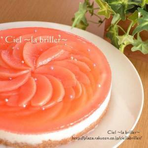 華やかな桃のチーズケーキ