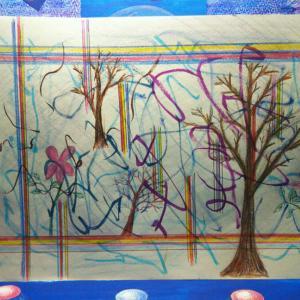 絵画 樹のある風景