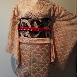青海波に菊と鶴でおめでたいコーデ