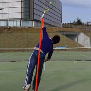 テニスのサーブでジャンプせずに高い打点で打つための方法