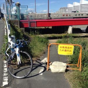 台風通過後のサイクリングロード