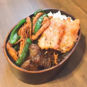 サラダチキンのチンジャオロースー(風)とカニカマの天ぷら