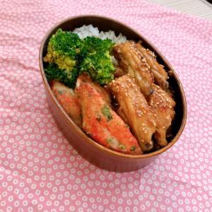 手羽中の甘辛焼きをとカニカマの天ぷら弁当