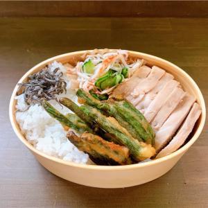 鶏チャーシューとカニカマときゅうりの酢のもの弁当