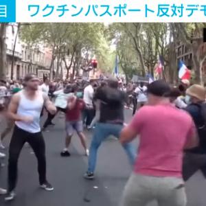 【動画あり】仏ワクチンパスポート反対デモを正体不明の集団が襲撃、大乱闘に発展