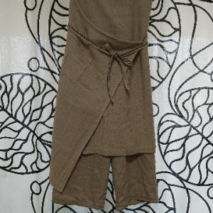手作りのリネンパンツ&オーバースカートができました。