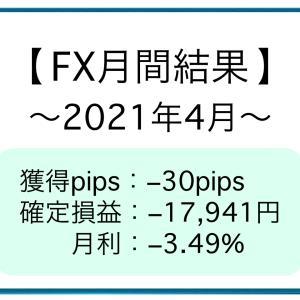 【FX月間結果】2021年4月 −30pips [−17,941円]