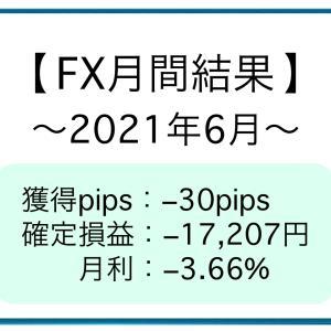 【FX月間結果】2021年6月 −30pips [−17,207円]