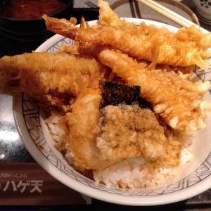 「銀座ハゲ天 川崎アゼリア店」で、ランチメニューの天ぷらが盛りだくさんの、江戸前天丼を食べてみた