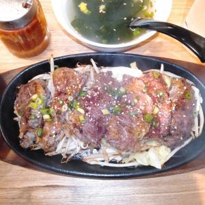 川崎大衆肉酒場 満天おさやん!で、鉄板牛ハラミ焼定食を食べてみた