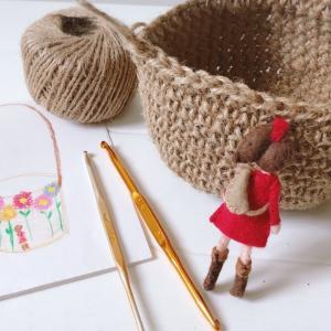 100均の麻紐でカゴバッグを編みます☆カギ針編み【前半】