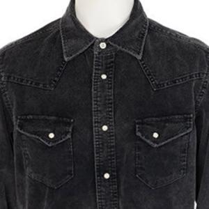 【長袖シャツ】ストレッチコーデュロイ硫化ウエスタン シャツ (ブラック) 商品番号 S5499