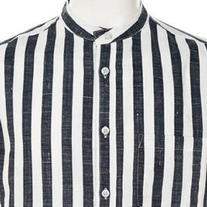 【長袖シャツ】ストライプマオカラー長袖シャツ (ネイビー) 商品番号 S5344