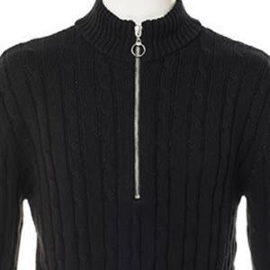 【ニットセーター】綿100%ハーフZIPケーブルスタンドカラーセーター (ブラック) 商品番号 S5473