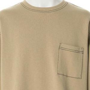 【長袖Tシャツ】カラーステッチロングTシャツ (ベージュ) 商品番号 S5929
