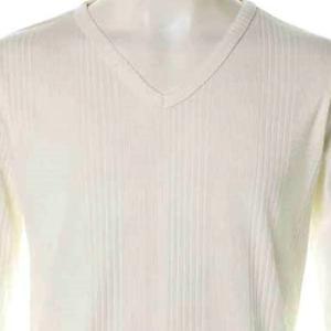 【長袖Tシャツ】ランダムテレコVネック長袖Tシャツ (ホワイト) 商品番号 S5975