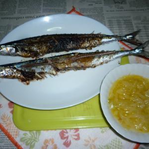 網焼きで汐秋刀魚の塩焼き