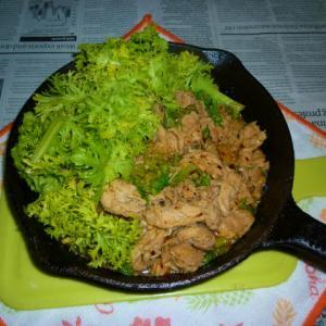 豚ロースとアサリ+わさび菜のマヨソテー