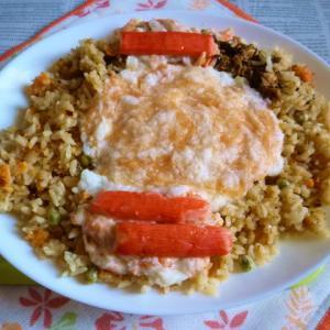 銀鮭の焼き鮭の炊き込みご飯+明太とろろのカフェ丼