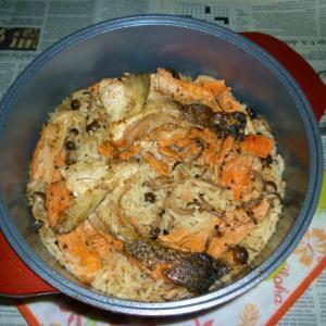 無加水鍋で銀鮭のアラの焼き鮭で炊き込みご飯Ver.2