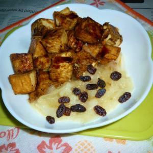 絹厚揚げのカリカリ焼き+玉ねぎのソフリット