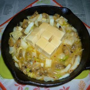 あさりと白菜のアヒージョ炒め+温奴のタパス