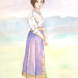人物画 ラベンダー色のスカート