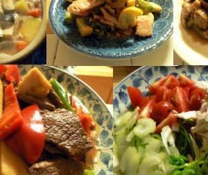 🍚夕食の献立|頂いた家庭菜園野菜で豚野菜汁 鶏生野菜 ゴーヤベーコン 牛野菜炒め