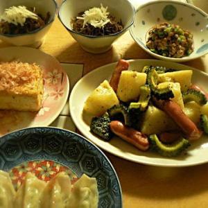 焼き豆腐が揚げ豆腐に? 焼き豆腐 ジャガイモとウインナー炒め もずく 餃子2個