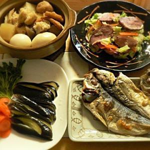 A定食|Aはメインが焼き魚って事にしました。アジ干物 彩浅漬け 煮物 鴨サラダ