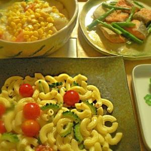 夕食の献立 昨日と真逆 くそ暑いのにシチューセット サーモンバター パスタ+1