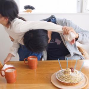 【パパ誕生日】なんとか出来たモンブランタルト。