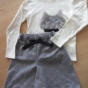 グレンチェックのキュロットスカート