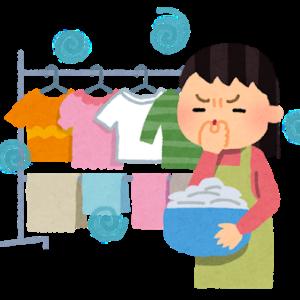 部屋干しの洗濯物はそこから着ていくスタイルで