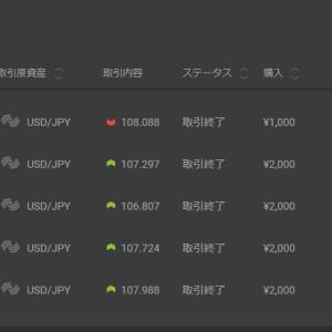 10月11日逆張りバイナリーで+1000円