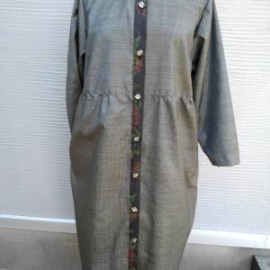 大島紬 ワンピースコート 絹100%【着物リメイク彩*AYA*】