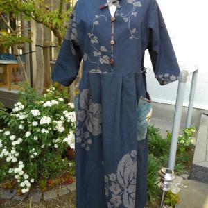 藍染ロングワンピース【着物リメイク彩*AYA*】