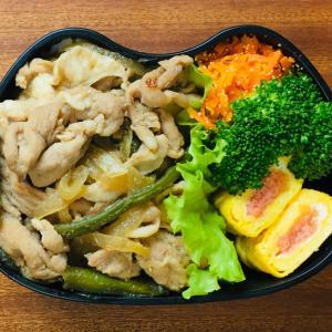 豚の生姜焼きと明太チーズの卵焼き弁当と常備菜