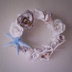 【クレイ作品】貝殻とバラのリース