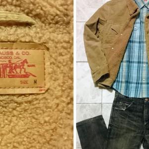 「LEVIS」キャメルのボアジャケットで「冬コーデ」を作る。2004年製リーバイスの70500・コーデュロイ素材の着こなし方を考える。
