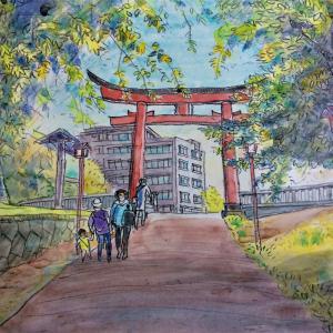 町田・菅原神社境内をスケッチ