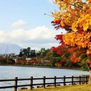 盛岡【高松の池】の紅葉と岩手山
