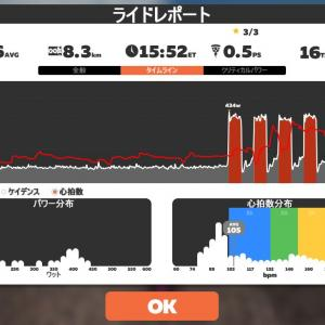 Zwift DE 2 RACE 33m12s, 267W & 29m32s, 260W