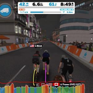 Zwift DE 2 RACE 21m00s, 276W & 1h21m48s, 249W