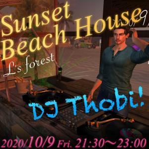本日21時半よりDJ Thobiさんをお招きして、サンセットビーチハウスにてイベント開催〜♪