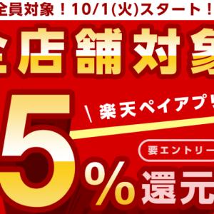 楽天pay_10月1日~12月2日の5%(クレカ+1%で合計6%)還元キャンペーン開始